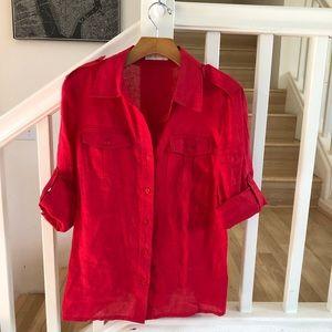 Tory Burch red linen button down blouse